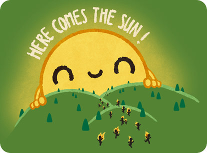 "Here Comes The Sun! ...from a T-shirt credited to ""Pablo Bustos aka Wirdou"""