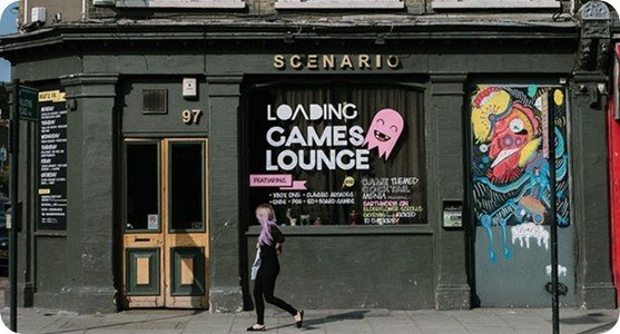 Scenario bar in Dalston by Loading. Used without permission, adapted from unknown photographer.